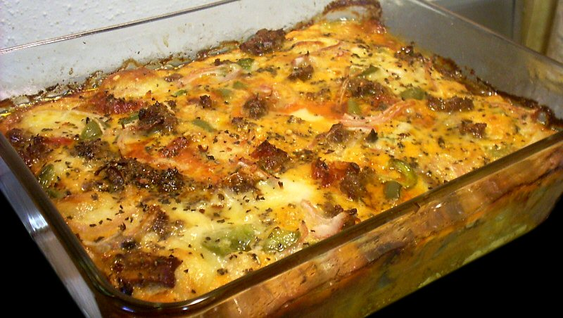Breakfast Casserole With Sweet Italian Sausage, Mushrooms, And Cheese ...