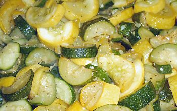 SautÉed Zucchini And Yellow Squash 2 Medium 7 Ounces Summer Tablespoons Olive Or Er 1 Clove Garlic